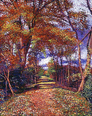 Impressionism Paintings - Autumn Colored Road by David Lloyd Glover