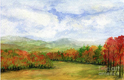 Autumn Day Watercolor Vermont Landscape Art Print