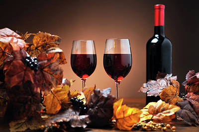 Photograph - Autumn Decoration With Wine by Moncherie