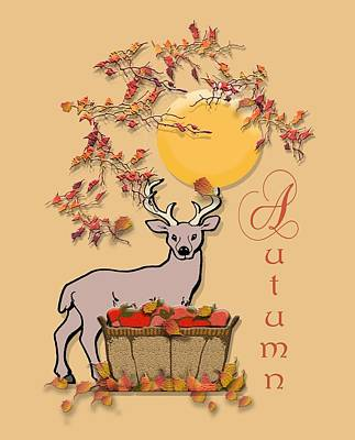 Belinda Landtroop Royalty-Free and Rights-Managed Images - Autumn Deer by Belinda Landtroop