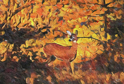 Painting - Autumn Deer by Dan Sproul