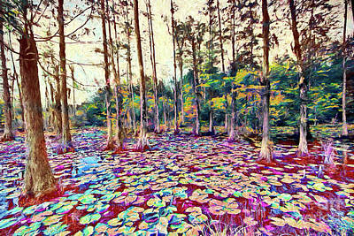 Painting - Autumn Fall Color Lily Pads Ap by Dan Carmichael