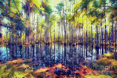 Painting - Autumn Fall Colors In The Cypress Swamp Ap by Dan Carmichael