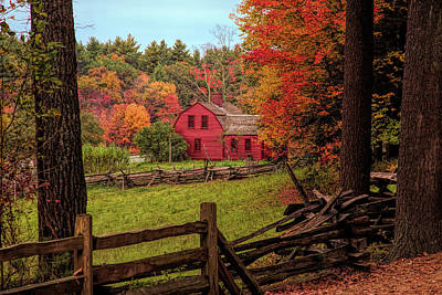Photograph - Autumn Fall Colors Over A Red Wooden Home by Jeff Folger