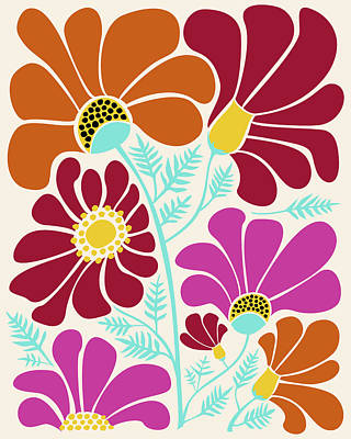 Cosmos Flowers Painting - Autumn Floral by Kristian Gallagher