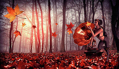 Landscapes Digital Art - Autumn forest song by Mihaela Pater