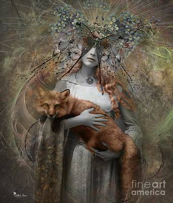 Digital Art - Autumn Fox by Ali Oppy