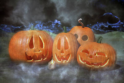 Comics Royalty-Free and Rights-Managed Images - Autumn Halloween Pumpkin Evening by Betsy Knapp