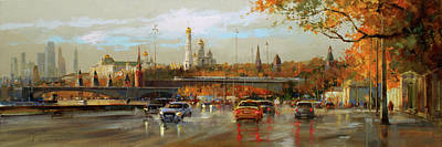 Painting Royalty Free Images - Autumn in Zaryadie. Moskvoretskaya embankment. Royalty-Free Image by Alexey Shalaev