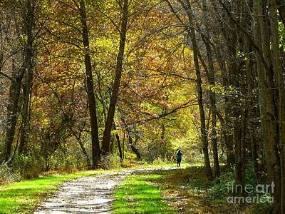 Art Print featuring the photograph Autumn Jogger by Donald C Morgan