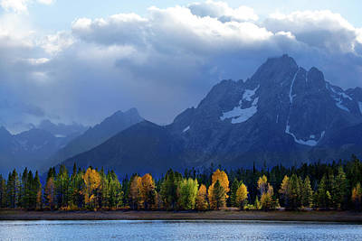 Photograph - Autumn Lakeshore Tetons by David Chasey