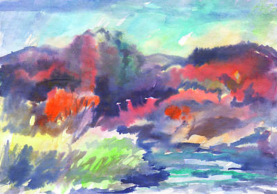Painting - Autumn Landscape After The Rain by Dobrotsvet Art