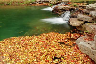 Photograph - Autumn Landscape Twin River Falls - Missouri by Gregory Ballos
