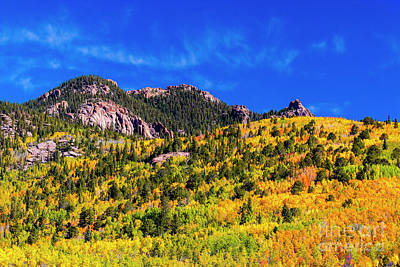 Steven Krull Royalty-Free and Rights-Managed Images - Autumn Leaves on North Face of Pikes Peak by Steven Krull