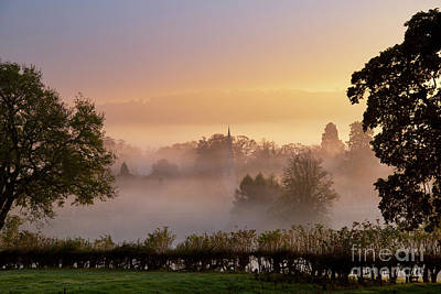 Photograph - Autumn Mist And Fog Over Lower Slaughter Cotswolds by Tim Gainey