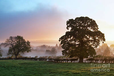 Photograph - Autumn Mist And Fog Over Lower Slaughter by Tim Gainey