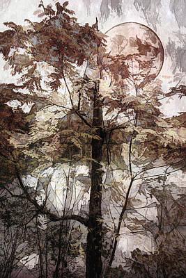 Photograph - Autumn Moon Wood Cut by Debra and Dave Vanderlaan