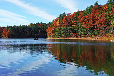 Photograph - Autumn On Walden Pond Concord Ma Lined Clouds by Toby McGuire