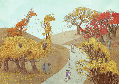 Drawing - Autumn Park by Eric Fan