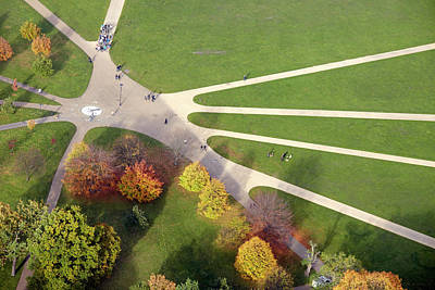 Hyde Park Wall Art - Photograph - Autumn Paths In Hyde Park, Aerial View by Andrew Holt