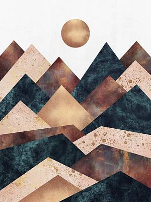 Autumn Digital Art - Autumn Peaks by Elisabeth Fredriksson