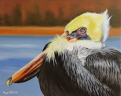 Bay St. Louis Ms Wall Art - Painting - Autumn Pelican by Phyllis Beiser