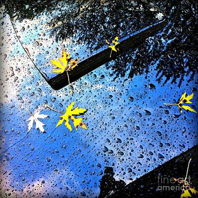 Photograph - Autumn Raindrops Car Reflections by Frank J Casella