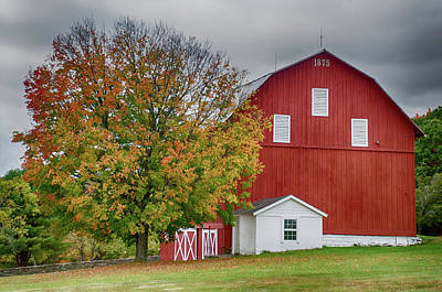 Photograph - Autumn Red Barn by Crystal Wightman