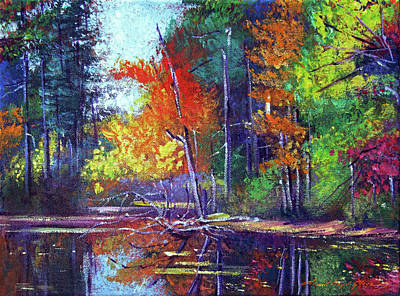 Painting - Autumn Reflects On The Pond by David Lloyd Glover