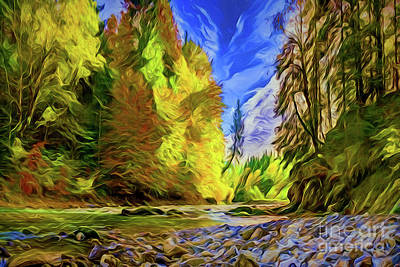 Painting - Autumn River A18222 by Ray Shrewsberry