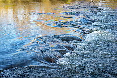 Claude Monet - Autumn River - Silky Flow in Sapphire Blue and Heliodor Yellow  by Georgia Mizuleva