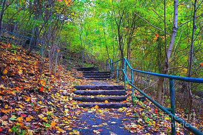 Photograph - Autumn Staircase With Rail by Christopher Shellhammer