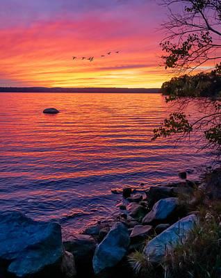 Lady Bug - Autumn Sunset Lake Auburn, Maine by Richard Plourde