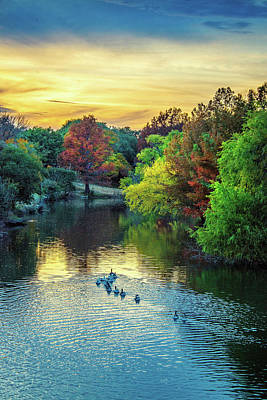 Photograph - Autumn Sunset Swim On Cibolo Creek by Lynn Bauer