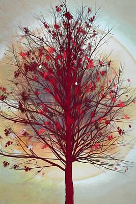 Digital Art - Autumn Tree In Beachy Colors by Debra and Dave Vanderlaan