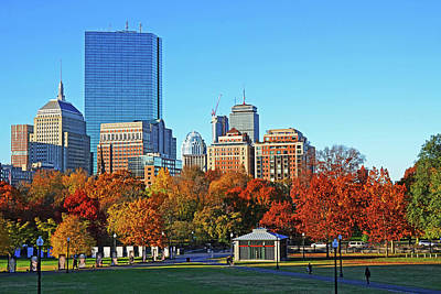 Photograph - Autumn Trees In The Boston Common Blue Sky Boston Ma by Toby McGuire