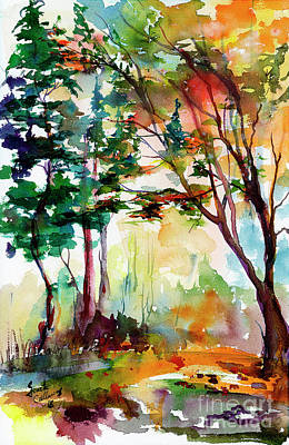 Painting - Autumn Trees Watercolors by Ginette Callaway