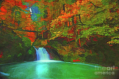 Painting - Autumn Waterfall A18-73 by Ray Shrewsberry