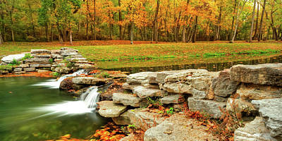 Soap Suds - Autumn Waterfalls - Dogwood Canyon Trail Panorama by Gregory Ballos