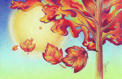 Drawing - Autumn Wind And Leaves by Sipporah Art and Illustration