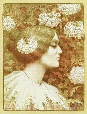 Drawing - Autumn Woman Art Nouveau Drawing Paul Berthon 1900 by Aapshop