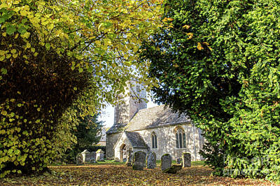 Photograph - Autumnal Medieval Church In Coln Rogers by Tim Gainey