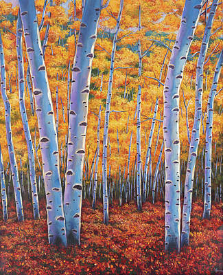 Aspen Wall Art - Painting - Autumn's Dreams by Johnathan Harris