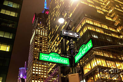 Photograph - Avenue Of The Americas At Night New York City by John Rizzuto