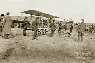 Photograph - Aviation - Early Bi-plane Curtis Rheims Flyer / Pusher At Monterey Air Show March 1910 Cv # 79-111-0 by California Views Archives Mr Pat Hathaway Archives