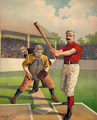 Sports Royalty-Free and Rights-Managed Images - Awaiting The Pitch - Vintage Color Baseball Print - 1895 by War Is Hell Store