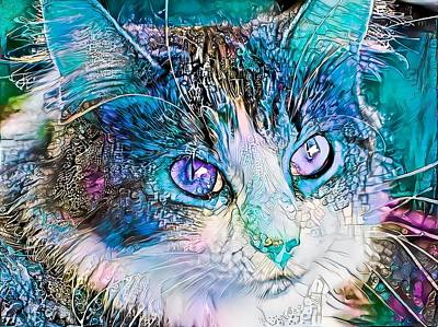 Recently Sold - Animals Digital Art - Awesome Blue Kitty Face by Don Northup
