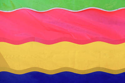 Iowa Photograph - Awning Or Banner, Colorful Stripes At by Tsp Productions