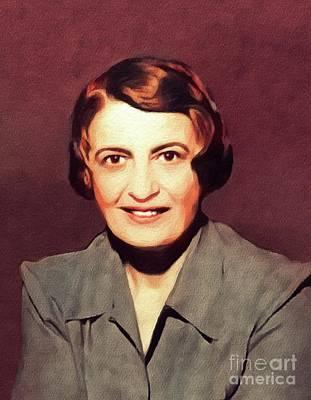 Ayn Rand Wall Art - Painting - Ayn Rand, Literary Legend by John Springfield