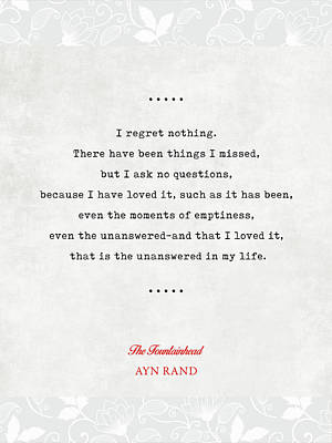 Mixed Media - Ayn Rand Quotes 4 - The Fountainhead Quotes - Literary Quotes - Book Lover Gifts - Typewriter Quotes by Studio Grafiikka
